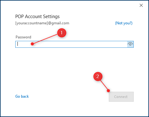 The POP Settings password page.
