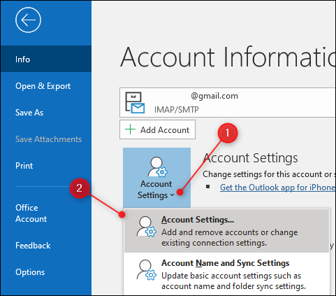"Outlook's ""Account Settings"" option"