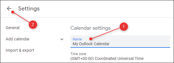 The Settings for the calendar with the Name field highlighted.