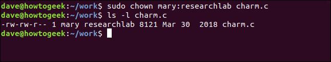 ls -l charm.c in a terminal window
