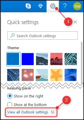 """Panel """"Tetapan pantas"""" Outlook dengan """"Lihat semua tetapan Outlook"""" disorot."""