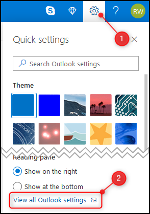 """The Outlook """"Quick settings"""" panel with """"View all Outlook setings"""" highlighted."""