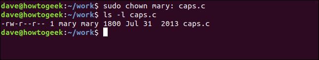 ls -l caps.c in a terminal window
