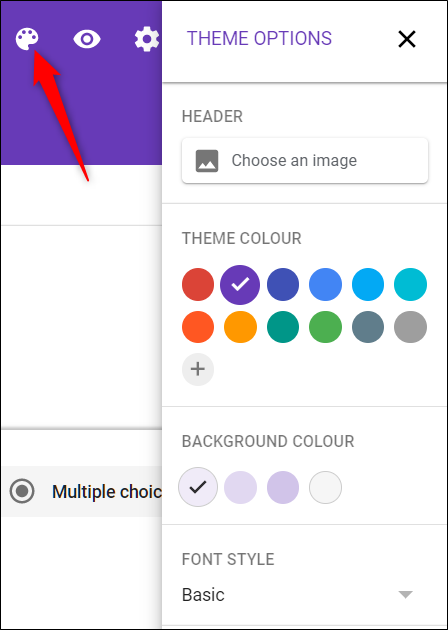 Customize the theme to match your website with the palette icon.
