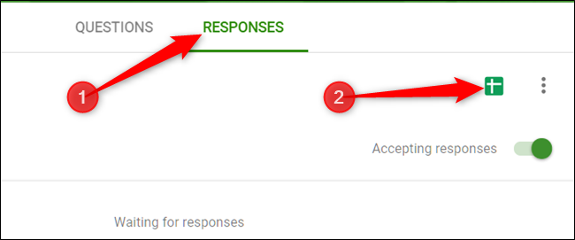 "To set up a spreadsheet with all the responses, click the ""Responses"" tab, and then click the green Sheets icon."