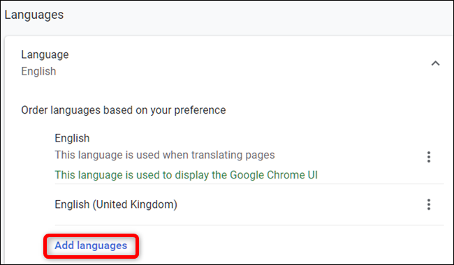 """Don't see your language? Click """"Add language."""""""