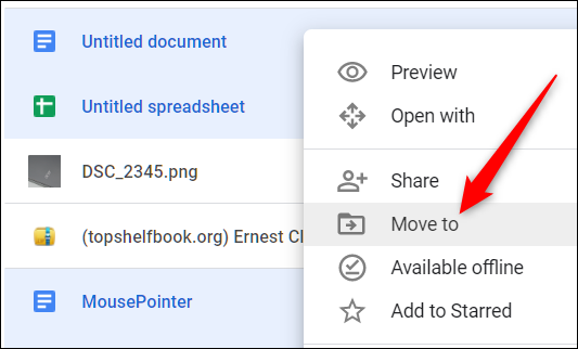 """Alternatively, highlight the files, right-click them, and then click """"Move To."""""""