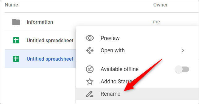 """Right-click a file and choose """"Rename"""" from the context menu"""