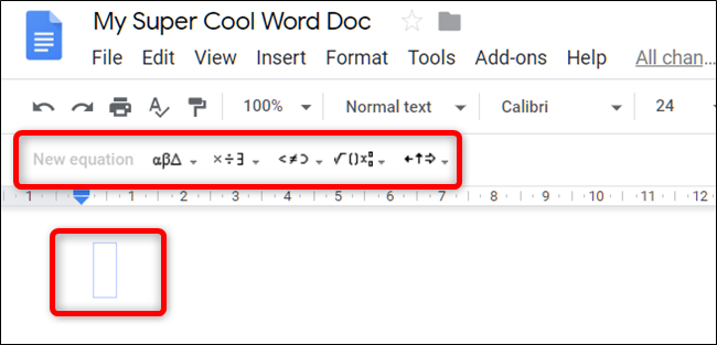 A toolbar with drop-down menus for symbols, operands, etc and the equation text input appear.