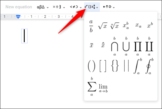 Click on a drop-down menu to start creating an equation.