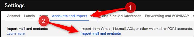 """Haga clic en """"Cuentas e importar"""" y luego haga clic en """"Importar correo y contactos""""."""