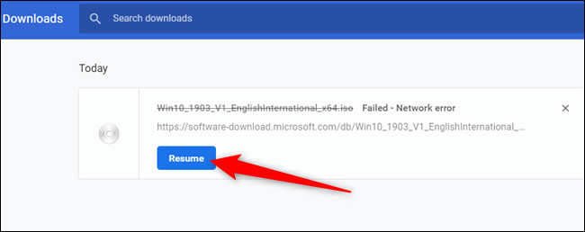 """Click """"Resume"""" to resume the file when you connect to the internet again."""