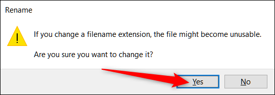 """Click """"Yes"""" to rename the file."""