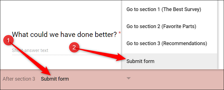 """At the end of a branching logic chain, click the drop-down menu at the bottom of the section, and then choose """"Submit Form"""" from the list."""