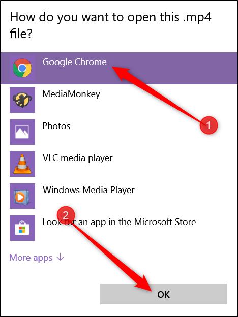 """Si no lo ve en la lista, haga clic en """"Elegir otra aplicación"""", haga clic en """"Google Chrome"""" en la ventana que se abre y luego haga clic en """"Aceptar""""."""