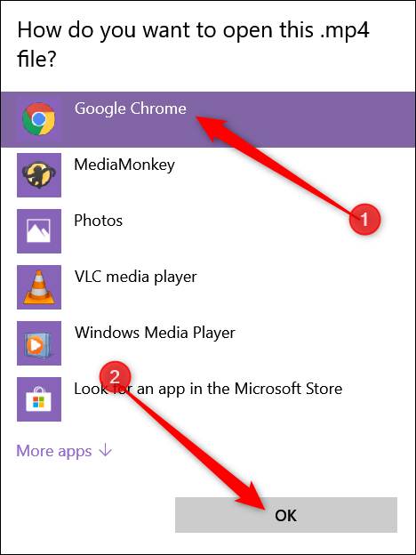 "If you don't see it in the list, click ""Choose another app,"" click ""Google Chrome"" from the window that opens, and then click ""OK."""