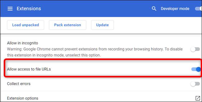 """Desplácese hacia abajo hasta que vea """"Permitir el acceso a las URL de archivos"""" y luego colóquelo en la posición Activado."""