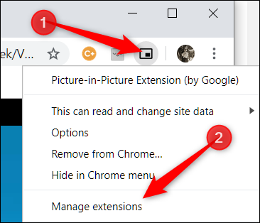 "Right-click the extension's icon, and then click ""Manage extensions."""