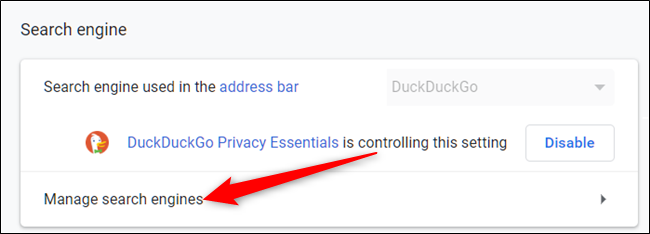 """Click on """"Manage search engines"""" under the section Search Engine."""