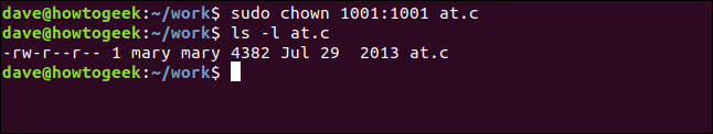 ls -l at.c in a terminal window
