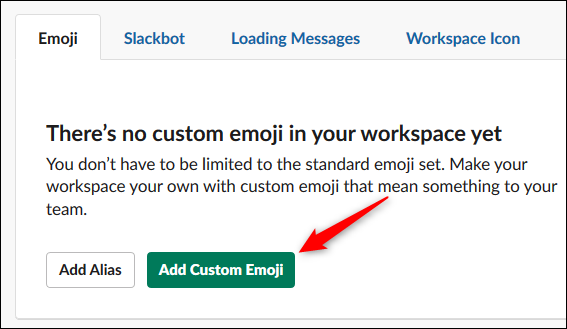 "The ""Add Custom Emoji"" button."