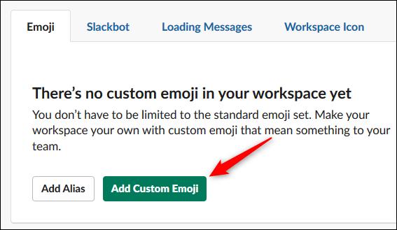 """El botón """"Agregar emoji personalizado""""."""