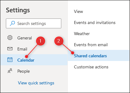 Outlooks Calendar settings with the shared calendar settings highlighted.
