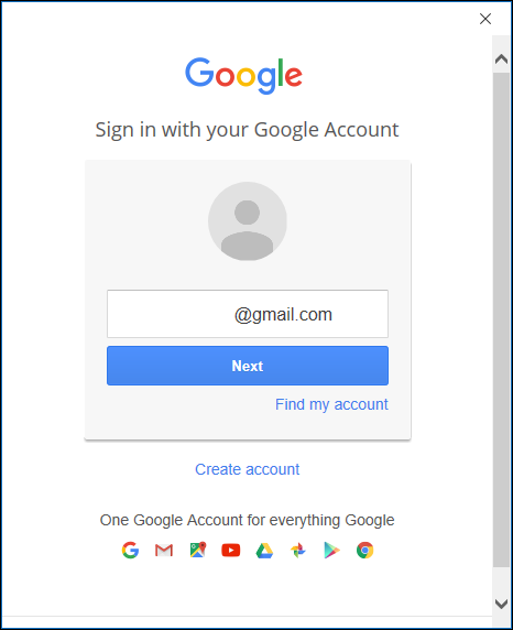 The Google login page.