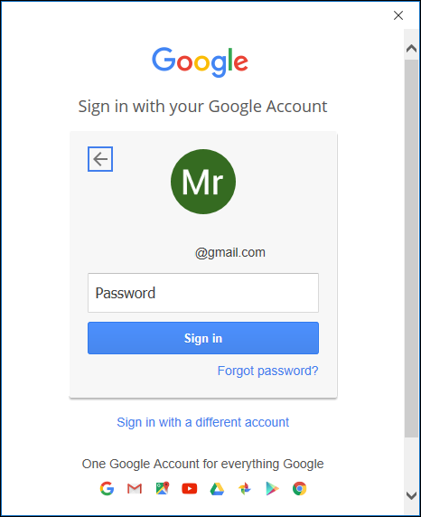 The Google password page.