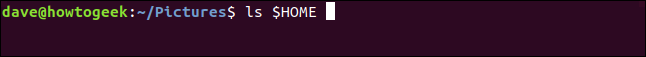 ls $HOME in a terminal window