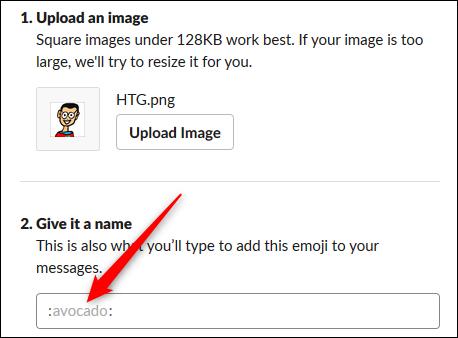 El cuadro de texto donde ingresa el nombre del emoji.
