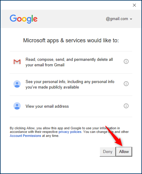 Google account access confirmation page.