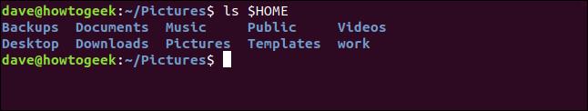 listing of home directory in the terminal window