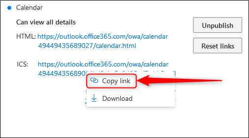 """The HTML and ICS links with the """"Copy link"""" option highlighted."""