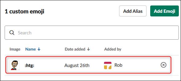 El emoji personalizado que se muestra en la lista de emojis personalizados.