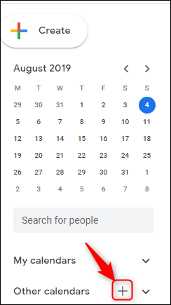 """Google """"Other calendars"""" section with """"add calendar"""" highlighted."""