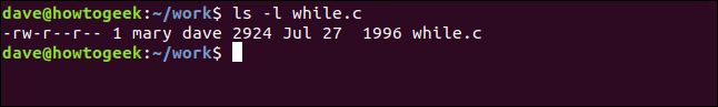 ls -l while.c in a terminal window