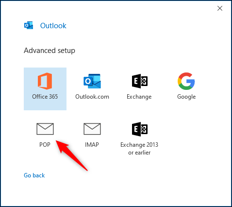 "Outlook's ""Advanced setup"" panel."