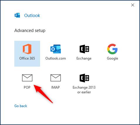 """Outlook's """"Advanced setup"""" panel."""