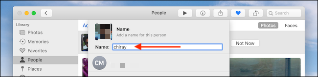 Add Name in text box in Photos app on Mac