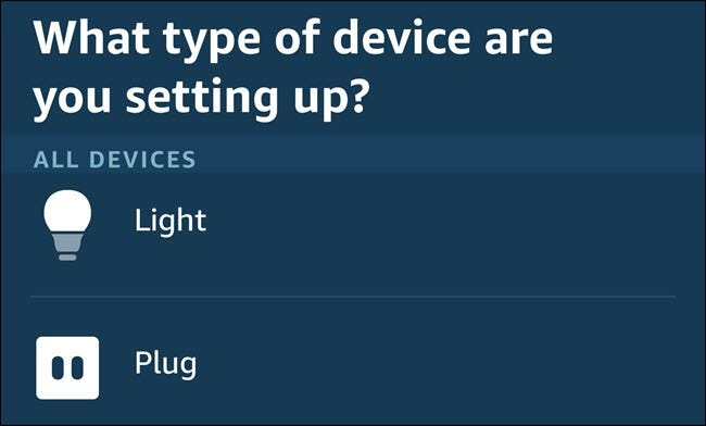The device setup menu in the Alexa app.