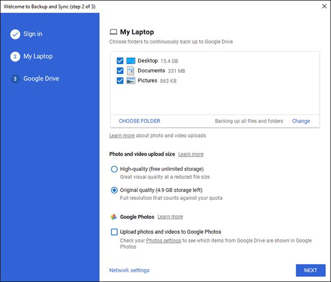 Google Drive Backup PC Choose Folder Screen