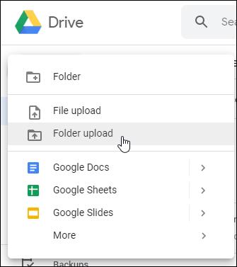 Google Drive Web File or Folder Upload Options