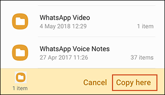 Copying confirmation in Samsung My Files app