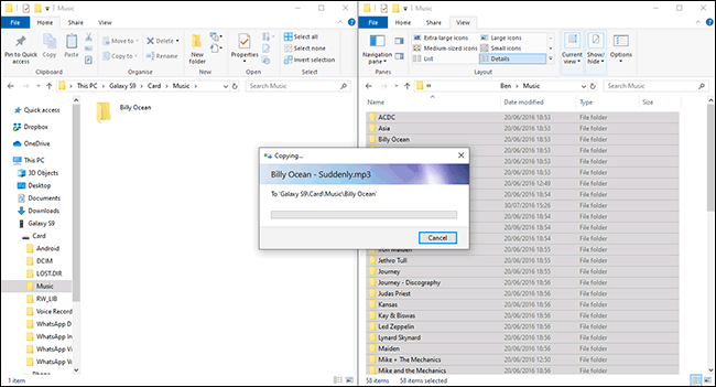 Files Transferring From Windows To Android Device In File Explorer