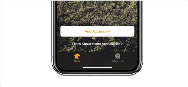 "The ""Add Accessory"" button in the Apple HomeKit app."