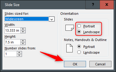 "Select the radio button next to Portrait or Landscape, and then click ""OK."""