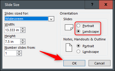 """Select the radio button next to Portrait or Landscape, and then click """"OK."""""""
