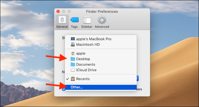 Choose a common folder as default window or click on Other
