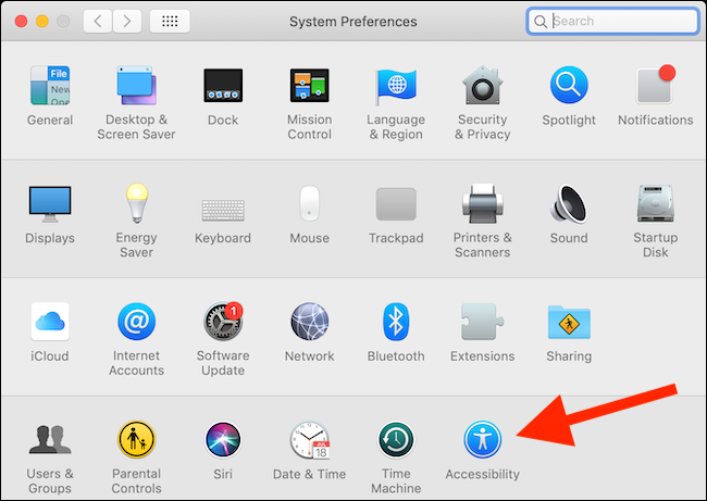 Click on Accessibility button from System Preferences in macOS